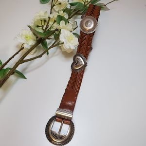 Brighton Vintage Brown Braided Belt